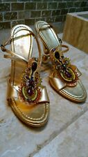 BCBGirls AIDA Gold Metallic Strappy Beaded sandals heels shoes sz 7.5, preowned