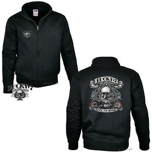 Motard Veste Sweat Vintage Harley Moto Sweat Tête de Mort 4240 Bl