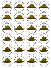 """x24 1.5"""" Scout Hat Cupcake Topper Birthday Decoration on Edible Rice Paper"""