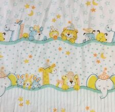 Vintage Sleeping Animals Fitted Crib Sheet Aqua Yellow Moons Stars Elephant Dogs