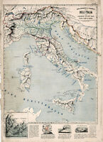 1853 Map of Italy Vintage Style Wall Art Poster Print Décor Artwork Home School