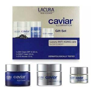 LACURA CAVIAR Gift Set. Day Cream + Night Cream + Eye Mousse. Brand NEW. SEALED.