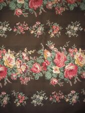 Quilt Gate Mary Rose Collection QUILT Fabric -Floral Stripe on Brown