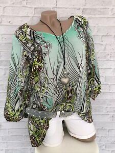 Damen Shirt Tunika Gr. 38 S türkis grün grau neu 3/4Ärmel leicht transparent