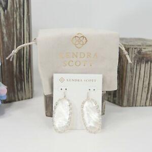 Kendra Scott Danielle Macrame Ivory Mother of Pearl Rhodium Silver Earrings NWT