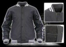 Dark Grey Wool Real Black Leather Arms Letterman College Varsity Bomber Jackets