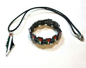 Lot of 2: Palestine (Map) Black Necklace & Chrome Palestine Flag Bracelet # 18