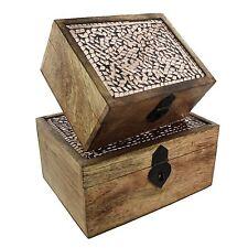 Hestia Copper Mosaic Mango Wood Set Of 2 Lidded Bo Storage Box