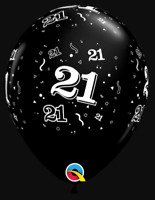 21st Birthday Party Supplies - Qualatex 28cm Onyx Black Latex Balloons (Pk.10)