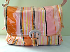NEW! Kalencom KD Kicker & David Design Laminated Striped Shoulder Diaper Bag