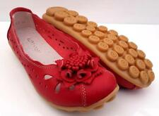 WOMENS Sz 10 Soft LEATHER FLATS Ballet Nodule Sole FLOWER Casual Comfy Red SHOES