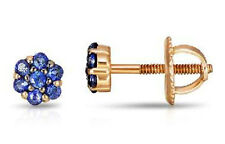 14ct Yellow Gold Flower Stud Earrings with Natural Sapphires