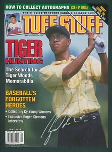 1998 TUFF STUFF JUNE 1998 TIGER WOODS - MAGAZINE COVER AD / ROGER CLEMENS