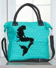 Turquoise MERMAID Quilted Silhouette Tote Hand Bag Cross Body Purse Beach Bag