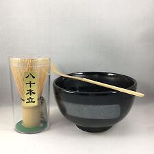 Japanese Tea Ceremony Matcha Bowl Scoop Whisk Gift Box Set GINSUGI Made in Japan