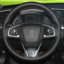 BANNIS Black Leather Steering Wheel Cover for Honda Civic 10 2016 2017
