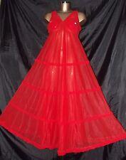 Vintage nouveau original unique Lily Chemise de nuit double Sheer Frilly rouge nylon taille M