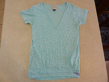 Women's INSIGHT Size 8 AU V-neck T-Shirt Green Multi-Coloured Polka Dot Top Girl