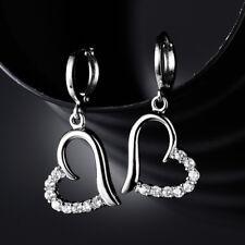 HUCHE Lovely Dangle Heart Diamond Clear Topaz Silver Gold Filled Women Earrings
