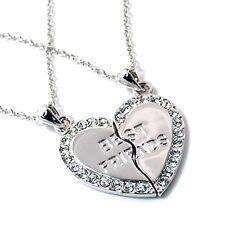 NEW BEST FRIEND Heart Silver Tone Rhinestone 2 Pendants Necklace BFF Friendship