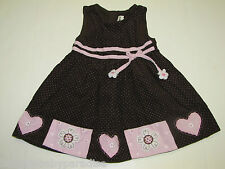 RARE EDITION Toddler Girl Brown & Pink Dress Valentine Hearts & Flowers 3T