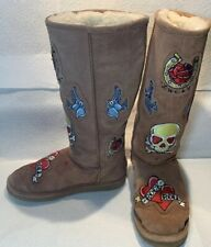 Chooka Fuzzy Warm Sheepskin Boots Womens Sz 8 Tattoo City