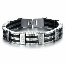 Men's Black Silver Silicone Stainless Steel Chain Wristband Cuff Bangle Bracelet