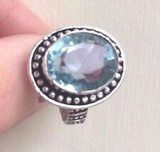 AQUAMARINE QUARTZ RING HANDMADE SILVER MARCH BIRTHSTONE SIZE large UK Q US 8.5