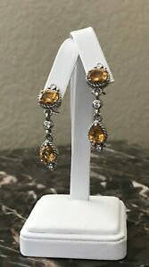 Judith Ripka Sterling Silver Genuine Citrine and Diamonique Dangle Drop Earrings
