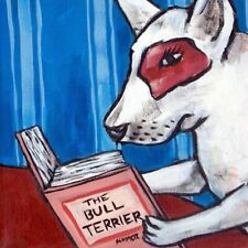 bull terrier dog art ceramic coaster gift reading impressionism gift
