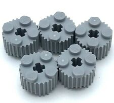 Lego 5 New Light Bluish Gray Bricks Round 2 x 2 with Flutes Grille and Axle