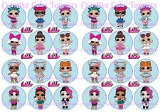 24 x LOL SURPRISE DOLLS Birthday Party Cup Cake Toppers Edible Rice Wafer Card