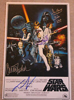 STAR WARS: EPISODE IV A NEW HOPE CAST SIGNED 12x18 MOVIE POSTER w/COA X4 PROOF