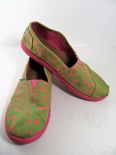 Toms 5 Youth Flats Pink Green Paisley Canvas Womens 7 S00513