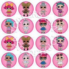 16x EDIBLE LOL Dolls Birthday Party Cupcake Toppers Wafer Paper 4cm (uncut)