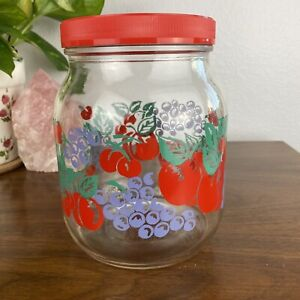 Anchor Hocking Glass Jar Canister w/ Lid Red Fruit Cherries Grapes Peaches