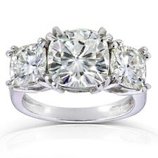 Engagement Ring In 14K White Gold 5.00 Carat Cushion Cut Moissanite Three-Stone
