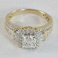 14k Yellow Gold Over 1.25 Ct Princess Cut Diamond Halo Engagement Wedding