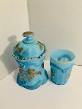 Northwood Blue Opalescent Drapery Glass & Jar With Lid Gold Antique