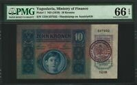 Yugoslavia Stamp on Austria 10 Kronen 1915 Gem Uncirculated PMG 66 RARE