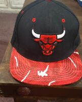 Chicago Bulls 2015 SnapBack Hat cap Mitchell & Ness RED Black Logo