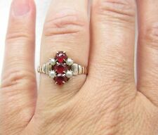 Antique Victorian Rose Gold Seed Pearl & 3 Red Stone Ring Sz 7