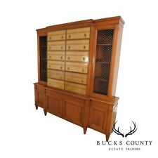 Renzo Rutili, Johnson Furniture Leather & Mahogany Library, Breakfront, Bookcase