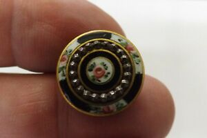 RARE ANTIQUE FRENCH ENAMEL AND CUT STEEL BUTTON GOOD CONDITION 2CMS (3398)