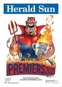 MELBOURNE DEMONS 2021 Official  MARK KNIGHT PREMIERSHIP POSTER PETRACCA GAWN