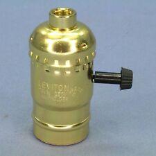 Leviton Turn Knob 3-Way Light Socket Brass Lamp Holder 250W Electrolier 7090-EA