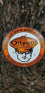 """"""" Old Vintage oilzum """"12x12"""" Vintage Steel Porcelain gas  sign.."""