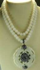 Statement 2 Strand White Jade Necklace  Carved Jade Pendant  Rhinestones Wedding