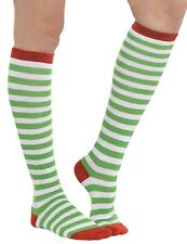 Adults Ladies Mens Green White Striped Festive Elf Christmas Fancy Dress Socks