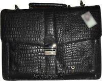 New Crocodile Skin Printed Leather Briefcase Black Business case Attaché sac bag